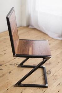 Walnut and Raw Steel Z-Chair - Factor Fabrication