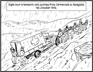 The inclement Russian climate takes it's toll on the roads the the hospital transport.