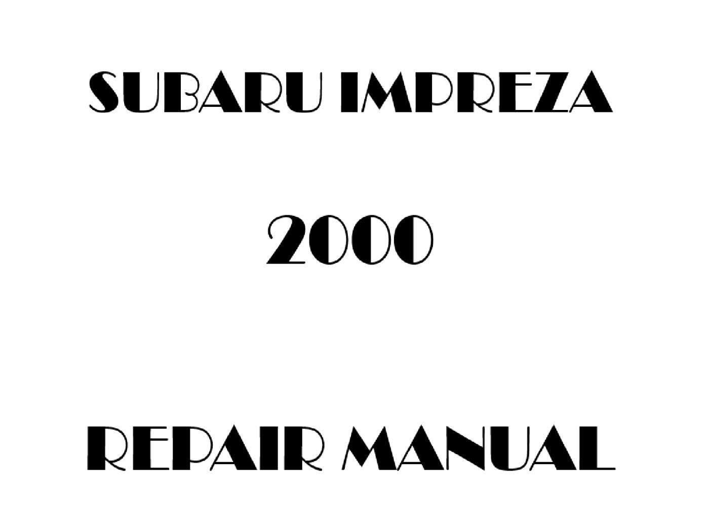 2000 Subaru Impreza repair manual