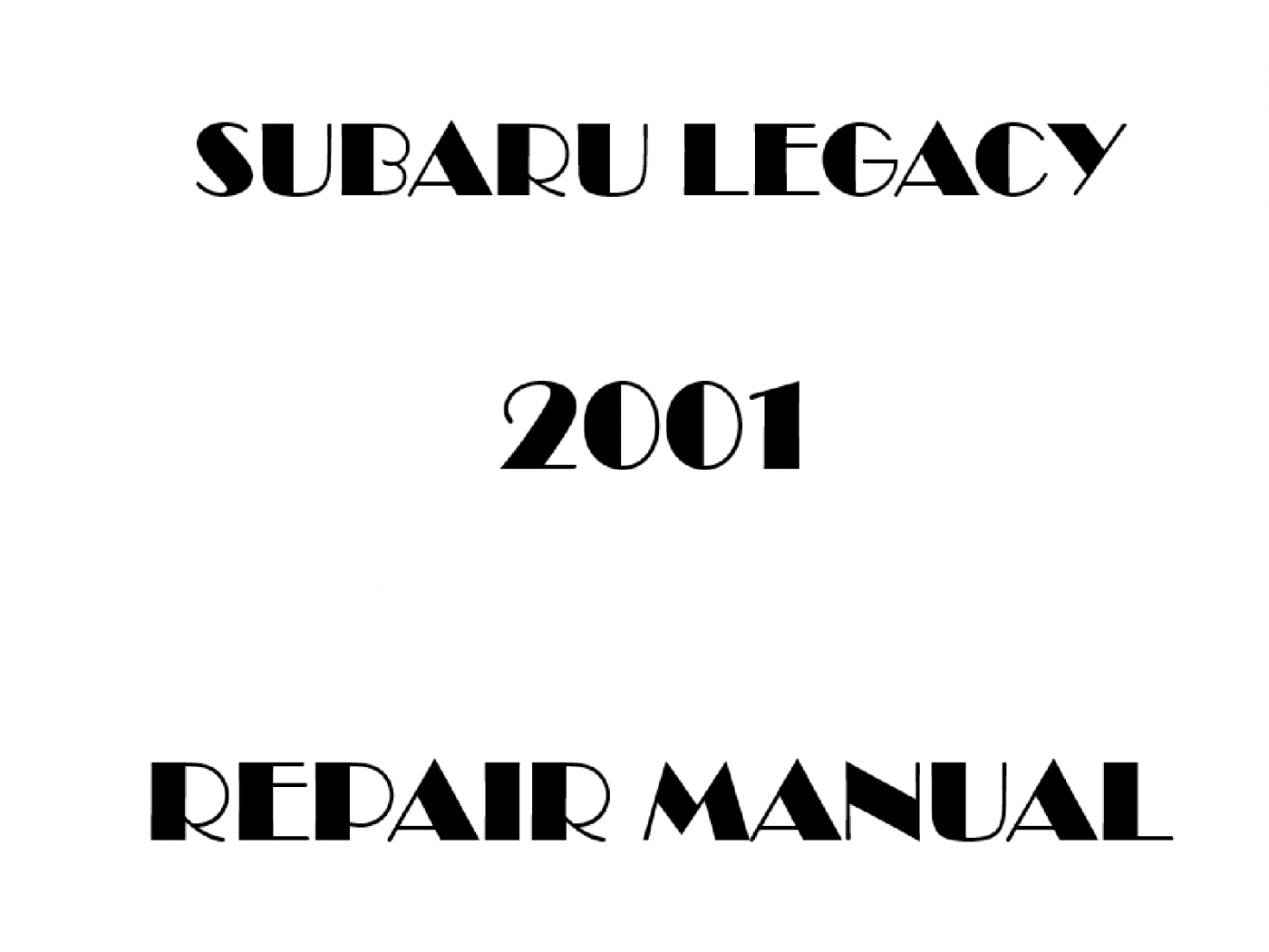 2001 Subaru Legacy repair manual