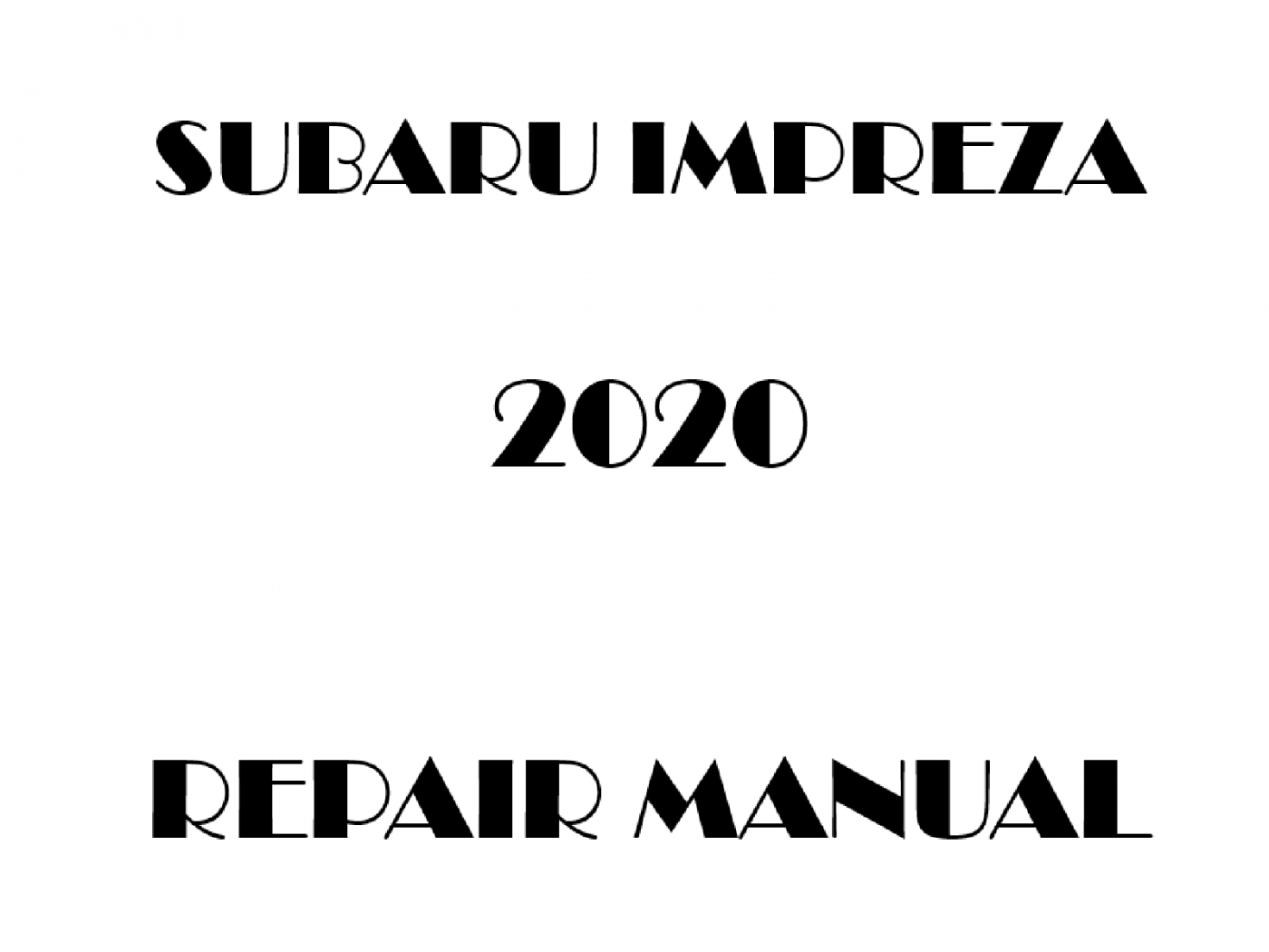 2020 Subaru Impreza repair manual