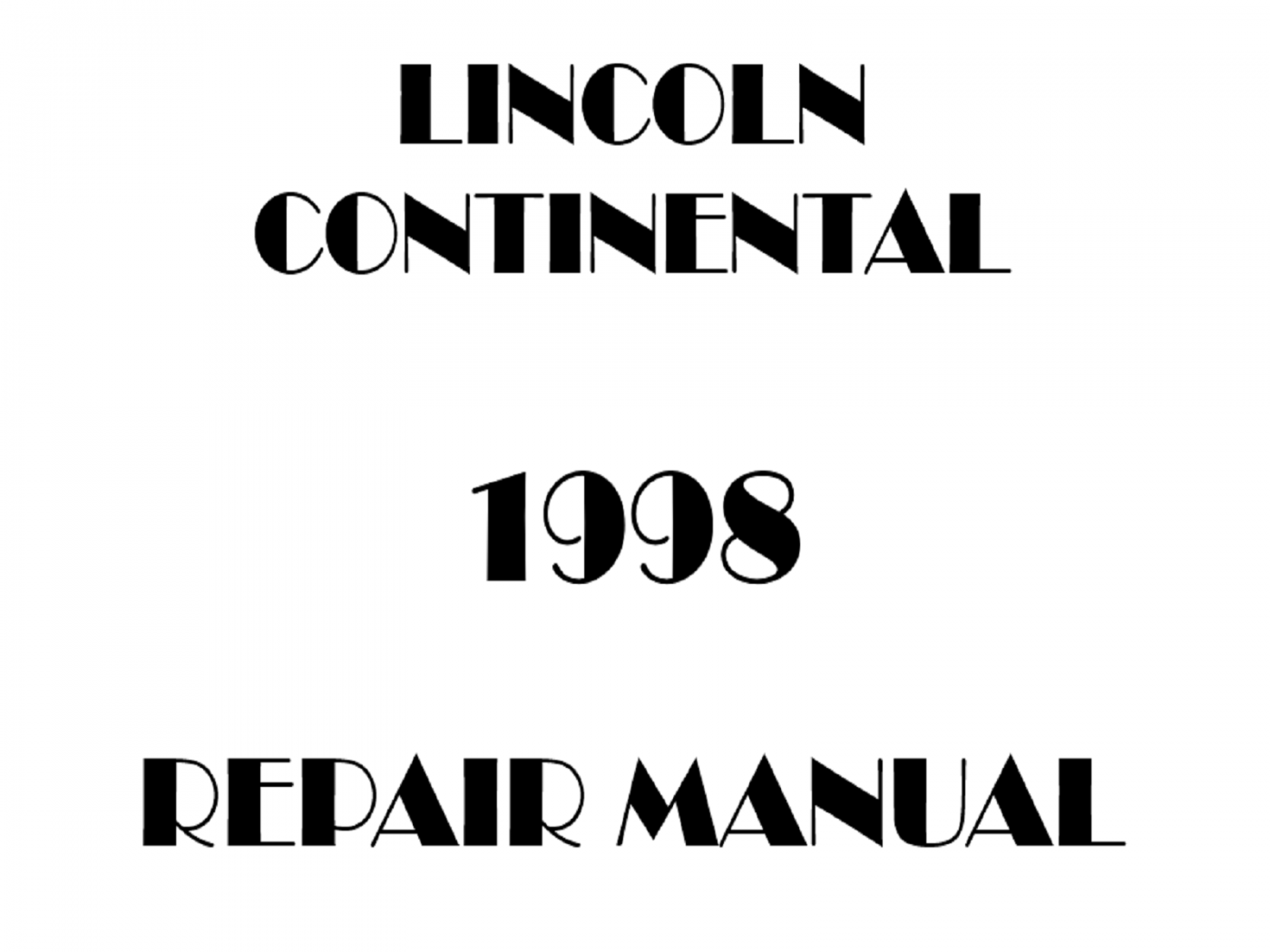 1998 Lincoln Continental repair manual