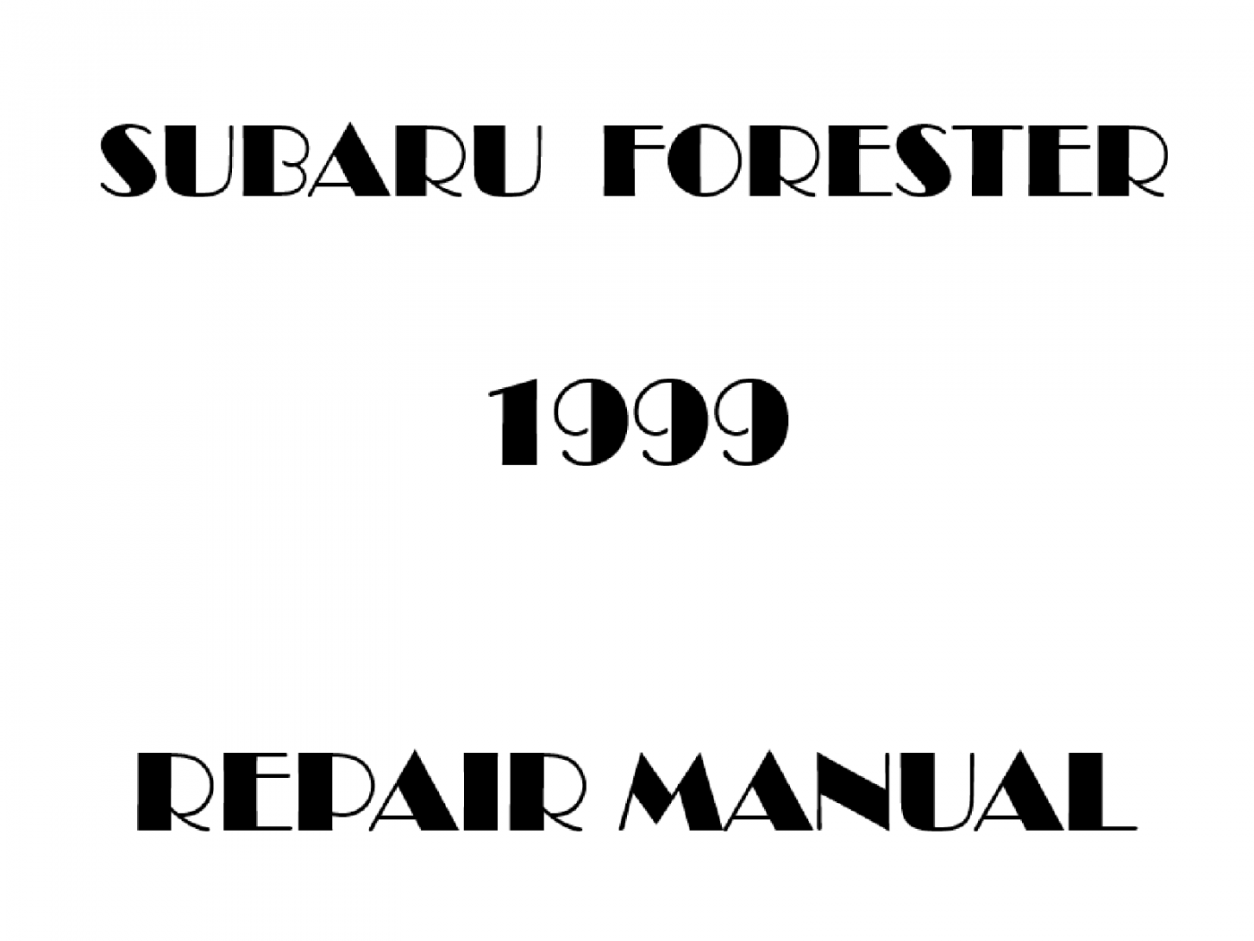 1999 Subaru Forester repair manual