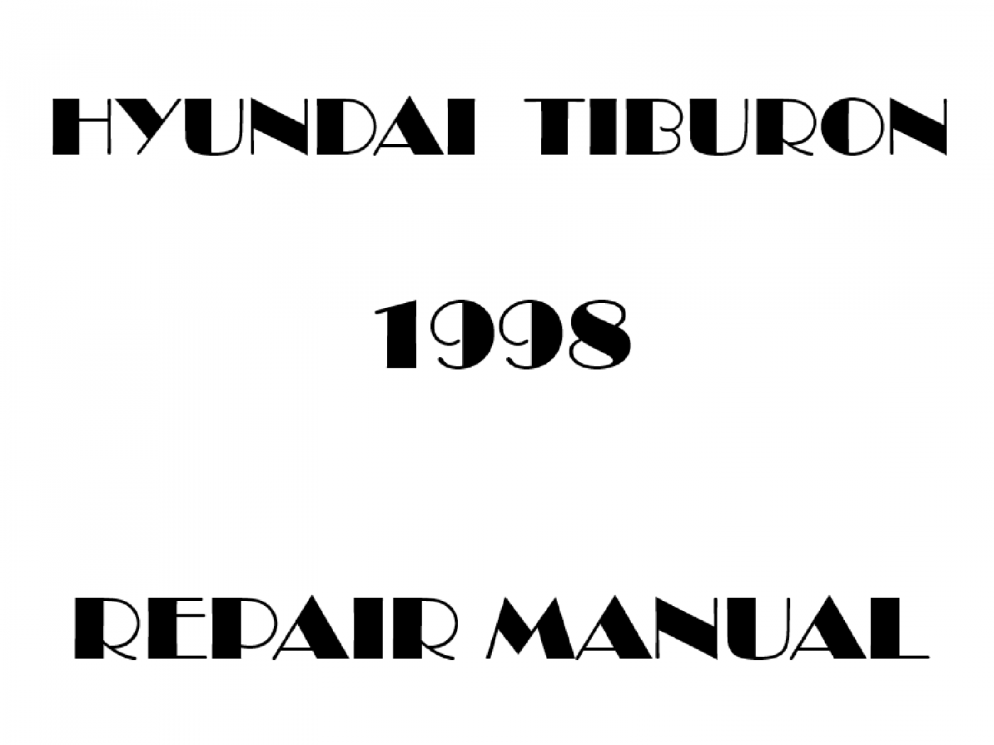 1998 Hyundai Tiburon repair manual
