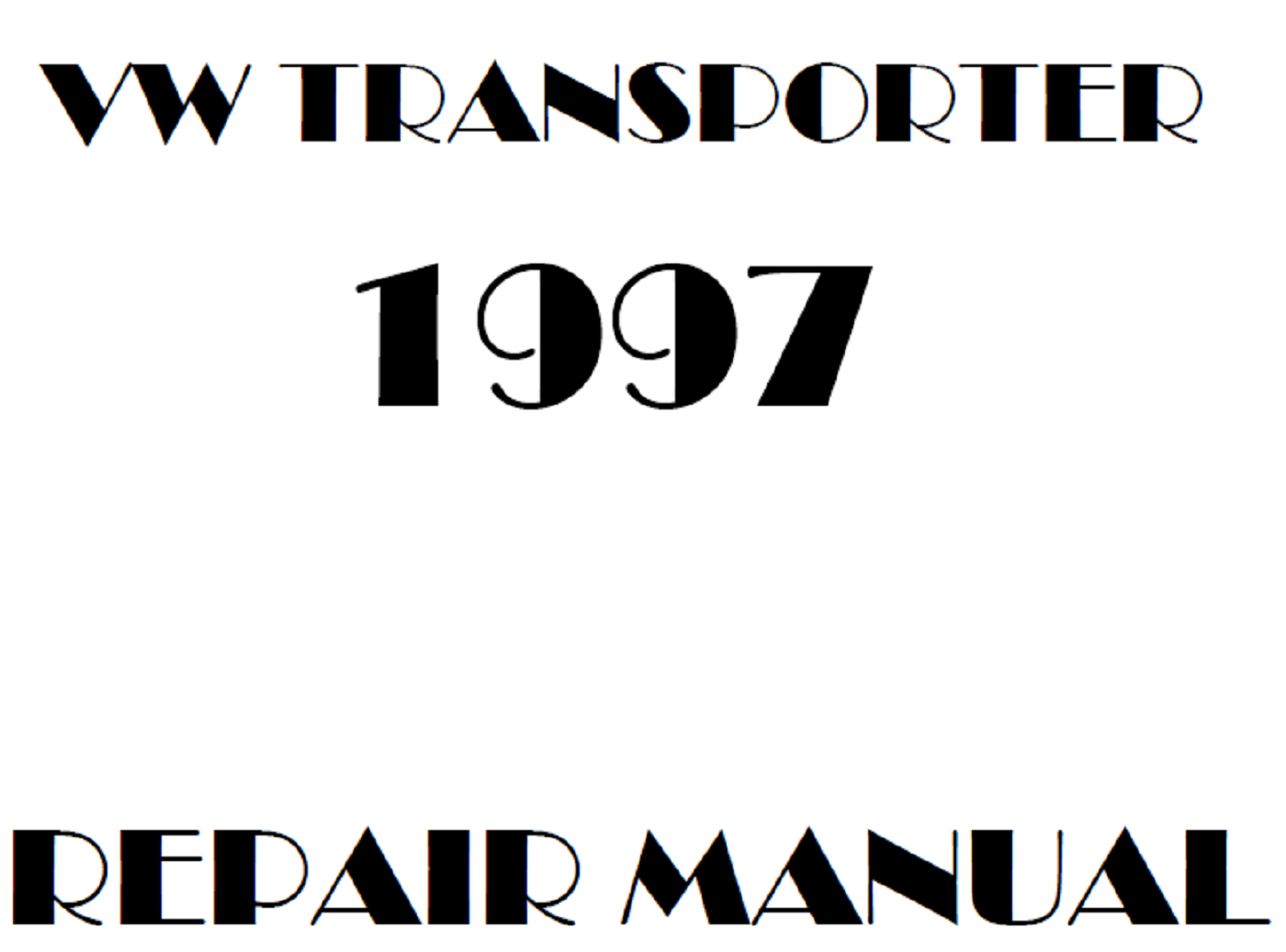 1997 Volkswagen Transporter repair manual