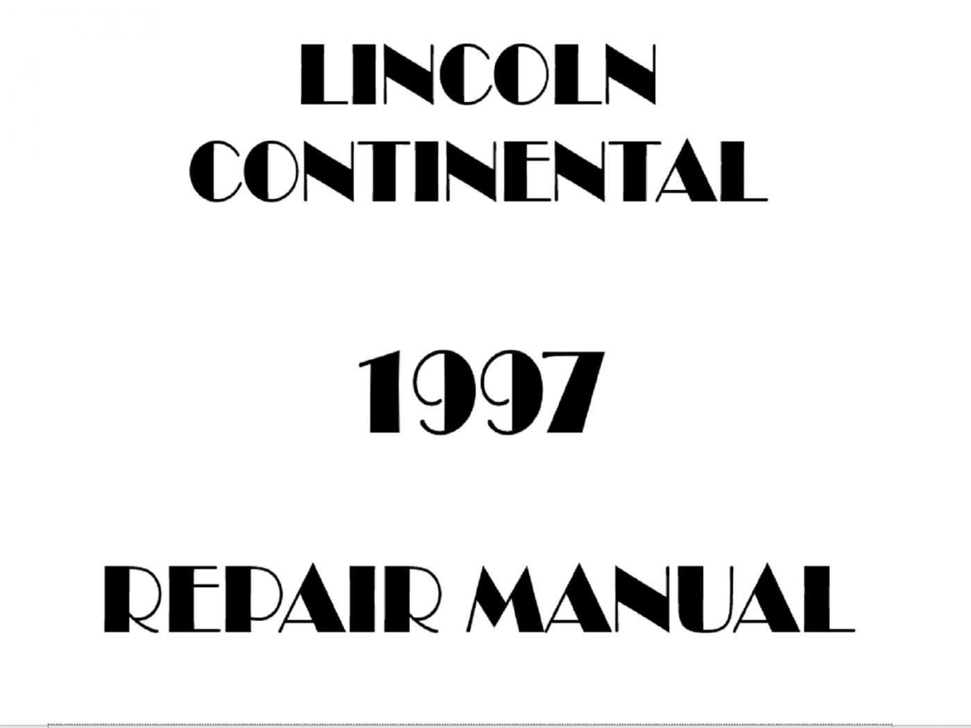 1997 Lincoln Continental repair manual