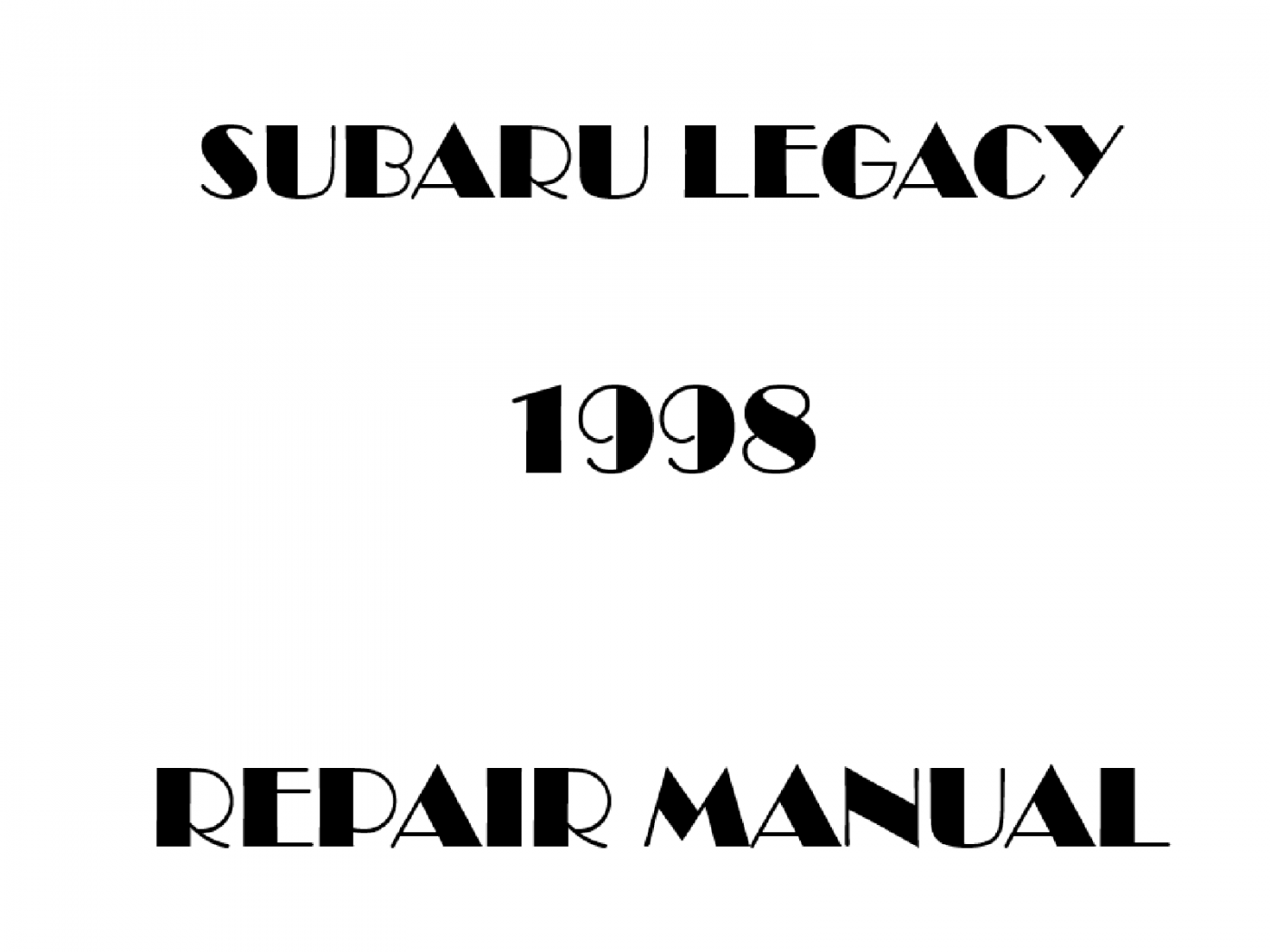 1998 Subaru Legacy repair manual