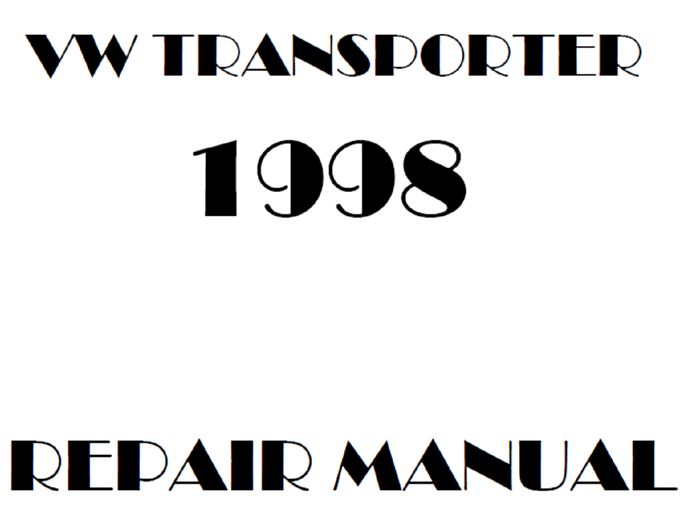 1998 Volkswagen Transporter repair manual