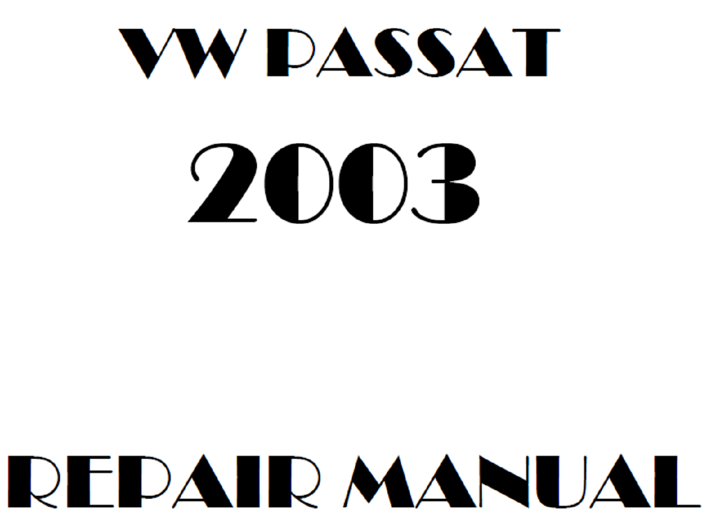 2003 Volkswagen Passat repair manual