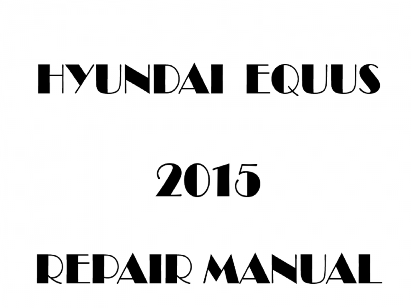 2015 Hyundai Equus repair manual