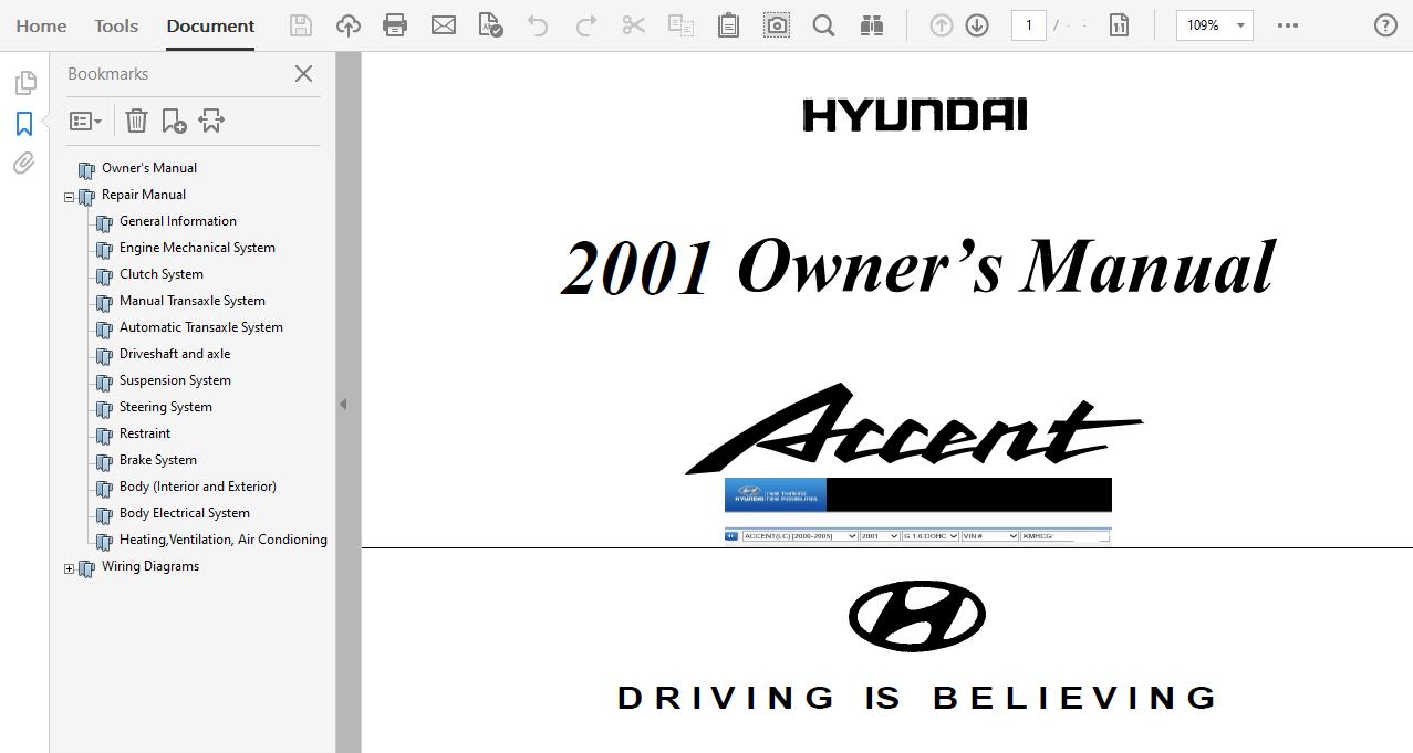 2001 Hyundai Accent repair manual