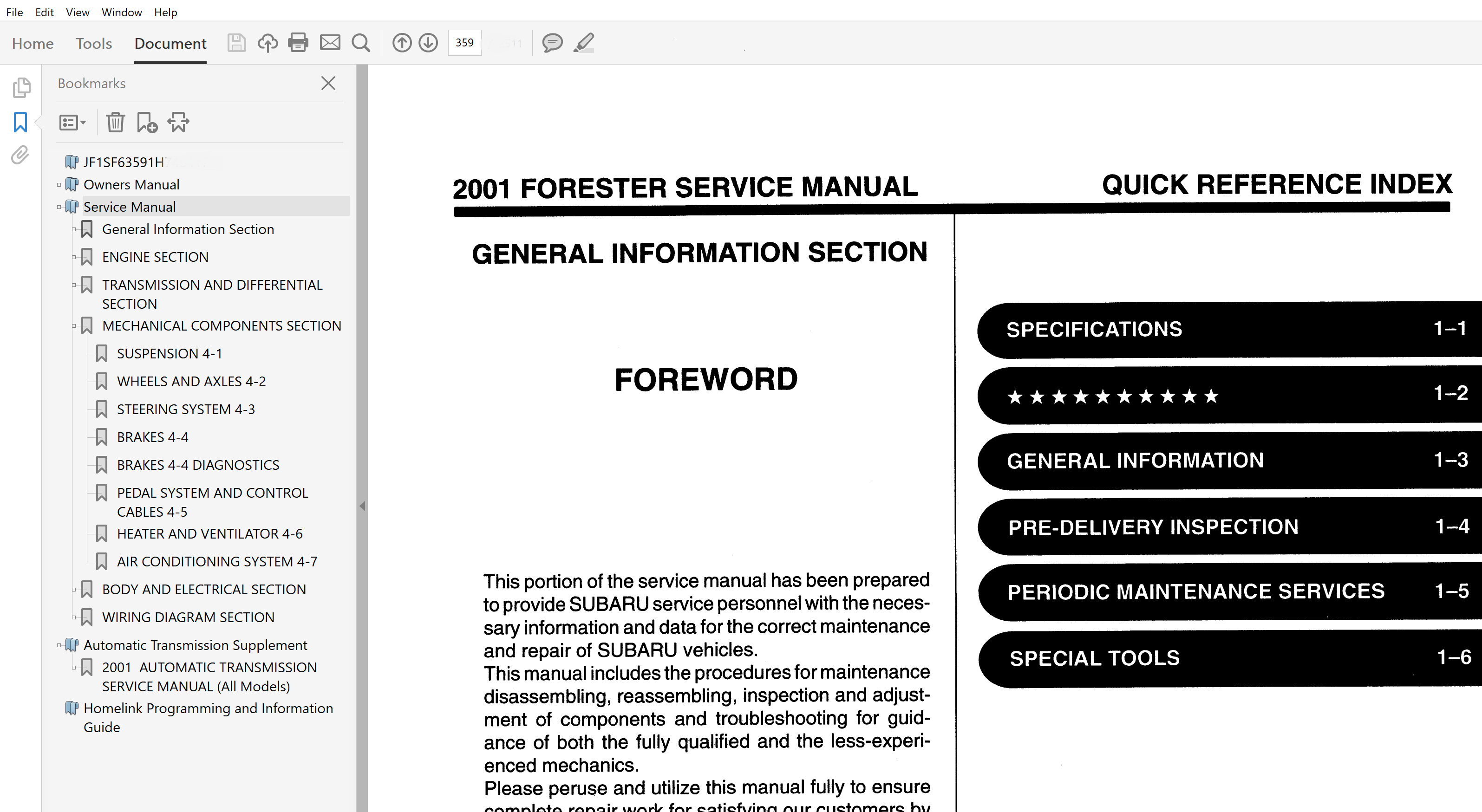 2001 Subaru Forester repair manual
