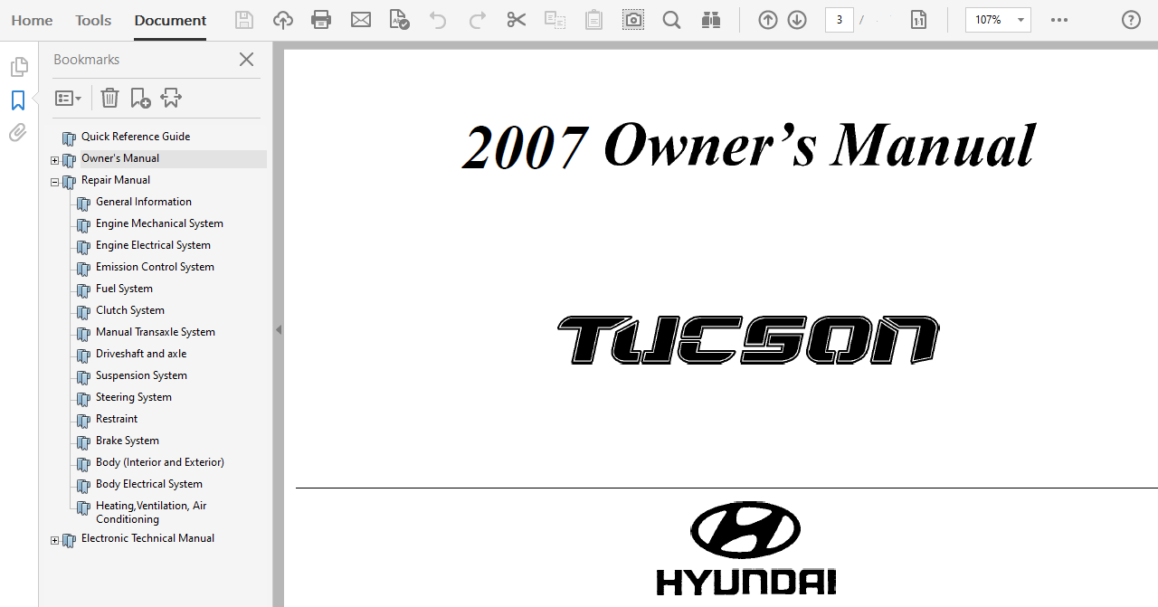 2007 Hyundai Tucson repair manual