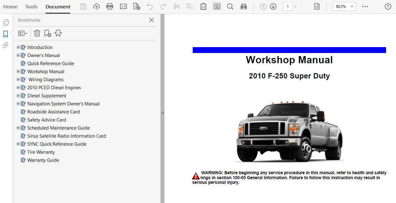 2010 Ford F250 F350 F450 F550 repair manual