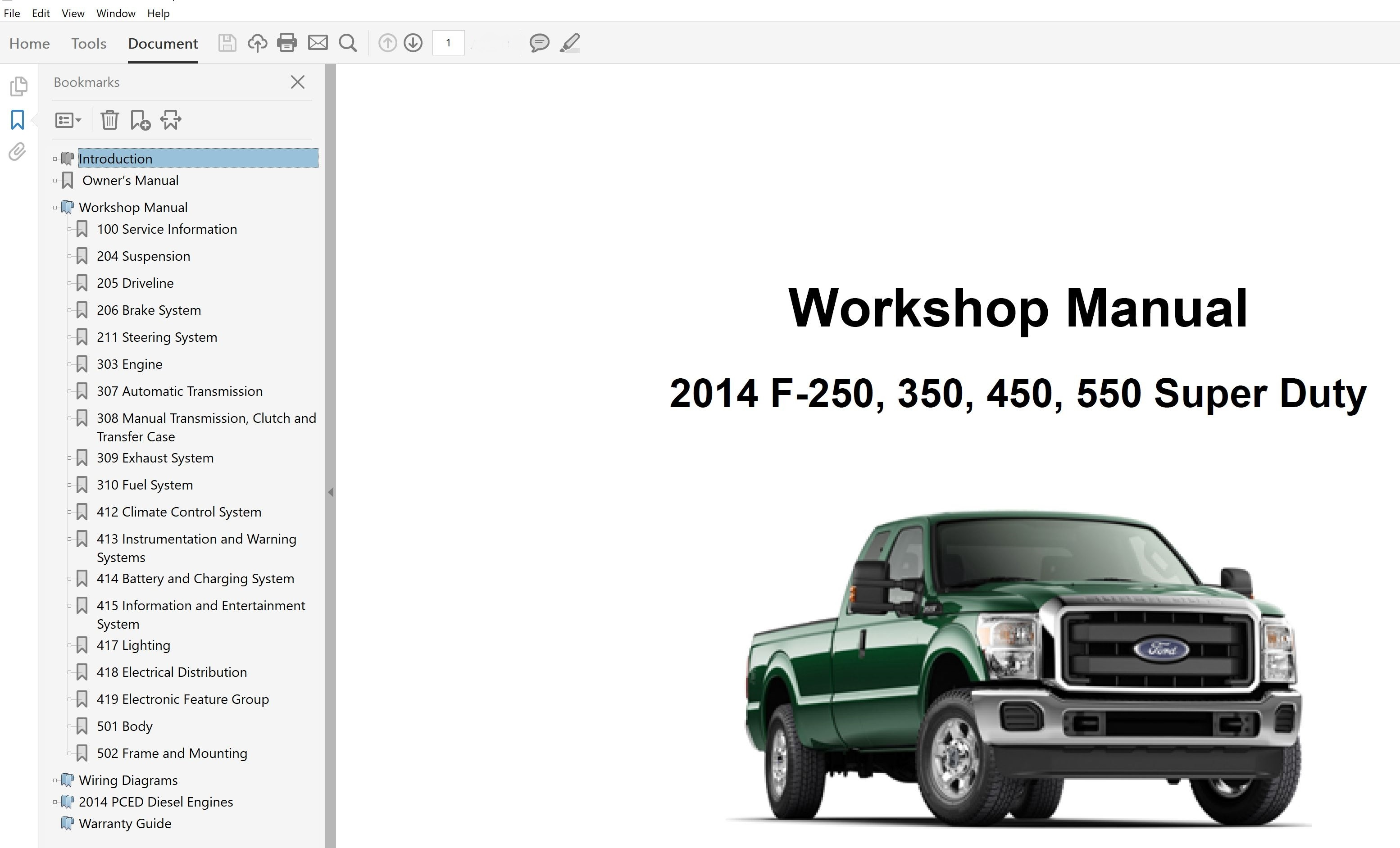 2014 Ford F250 F350 F450 F550 repair manual