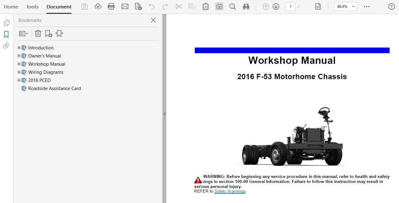2016 Ford F53 repair manual