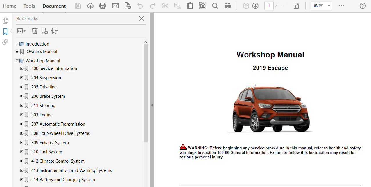 2019 Ford Escape repair manual
