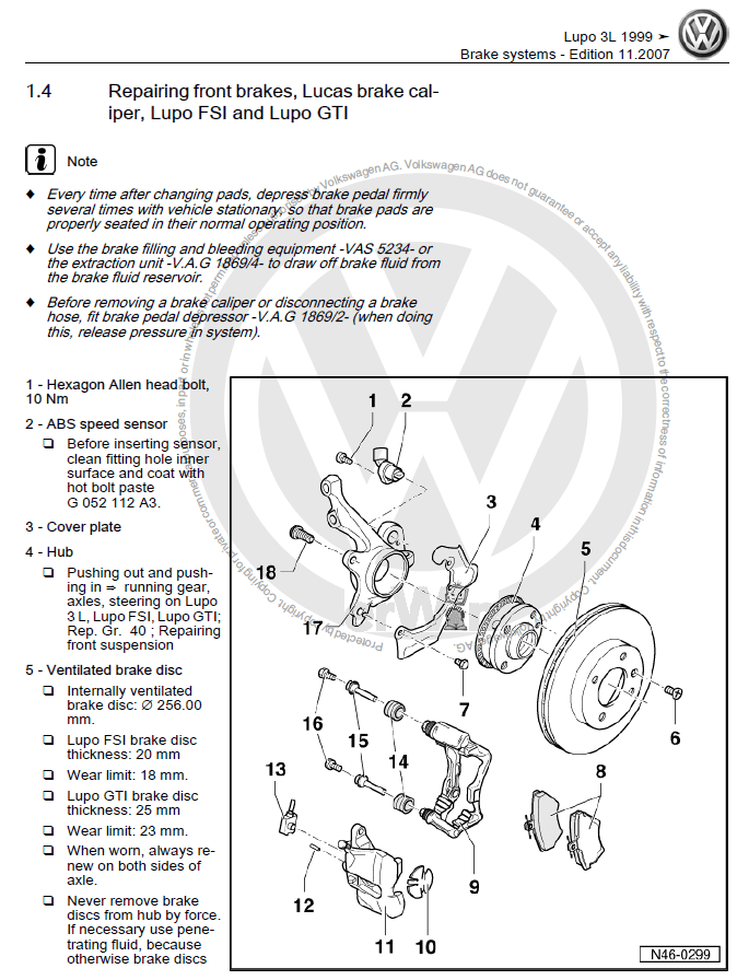 Service manual [2001 Volkswagen Golf Workshop Manual Free