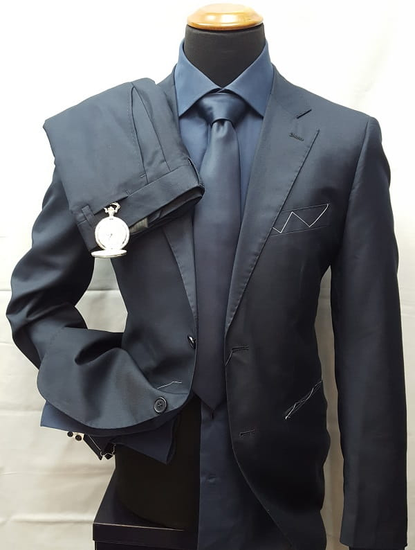 abito da uomo in tessuto pettinato tinta unita Factory Basic abito tinta unita blu2 ott