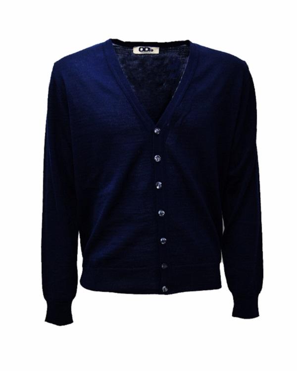 Pullover Cardigan Uomo Lana Merinos Blu
