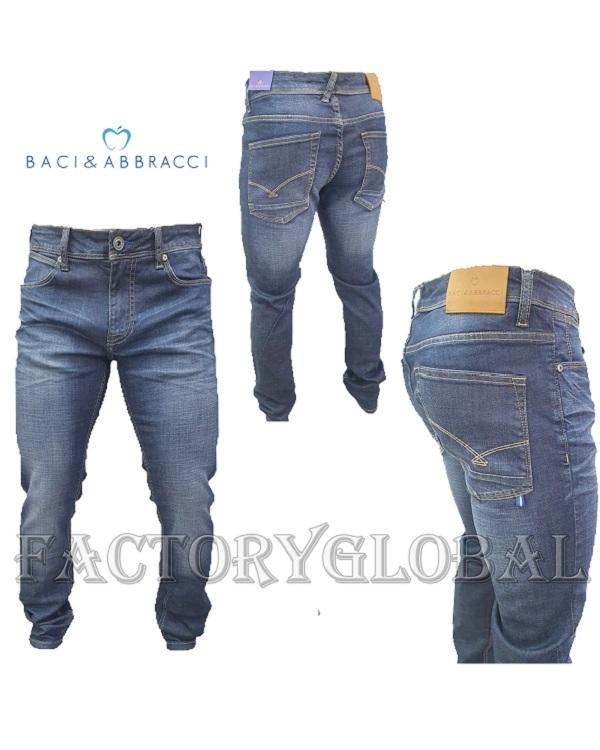 Jeans Uomo Baci & Abbracci Blu Chiaro Cinque Tasche