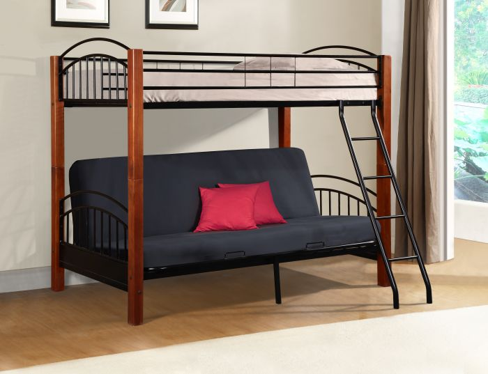 donco wood and metal twin over full futon bunk in cherry and black