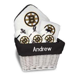 Newborn & Infant Boston Bruins White Personalized Medium Gift Basket