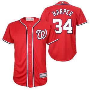 Youth Washington Nationals Bryce Harper Red Player Replica Jersey