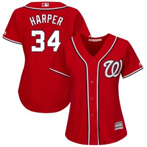 Women's Washington Nationals Bryce Harper Majestic Alternate Scarlet Plus Size Cool Base Player Jersey