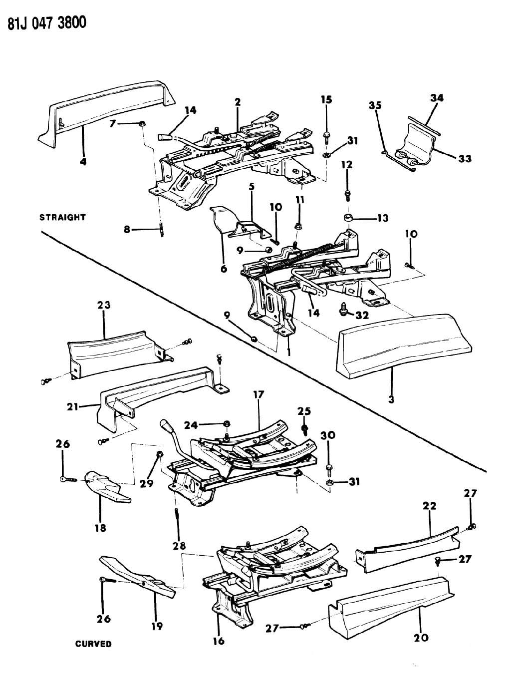 SEAT TRACK, W/O POWER SEATS BUCKET SEATS XJ CHEROKEE, XJ