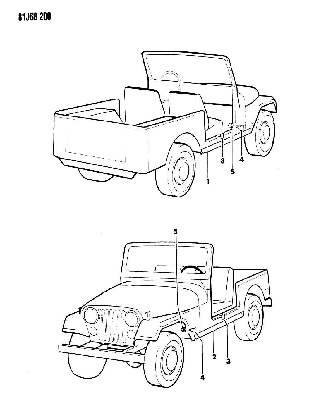 Jeep Wrangler Moulding Body Side Right Black Chrome Cj