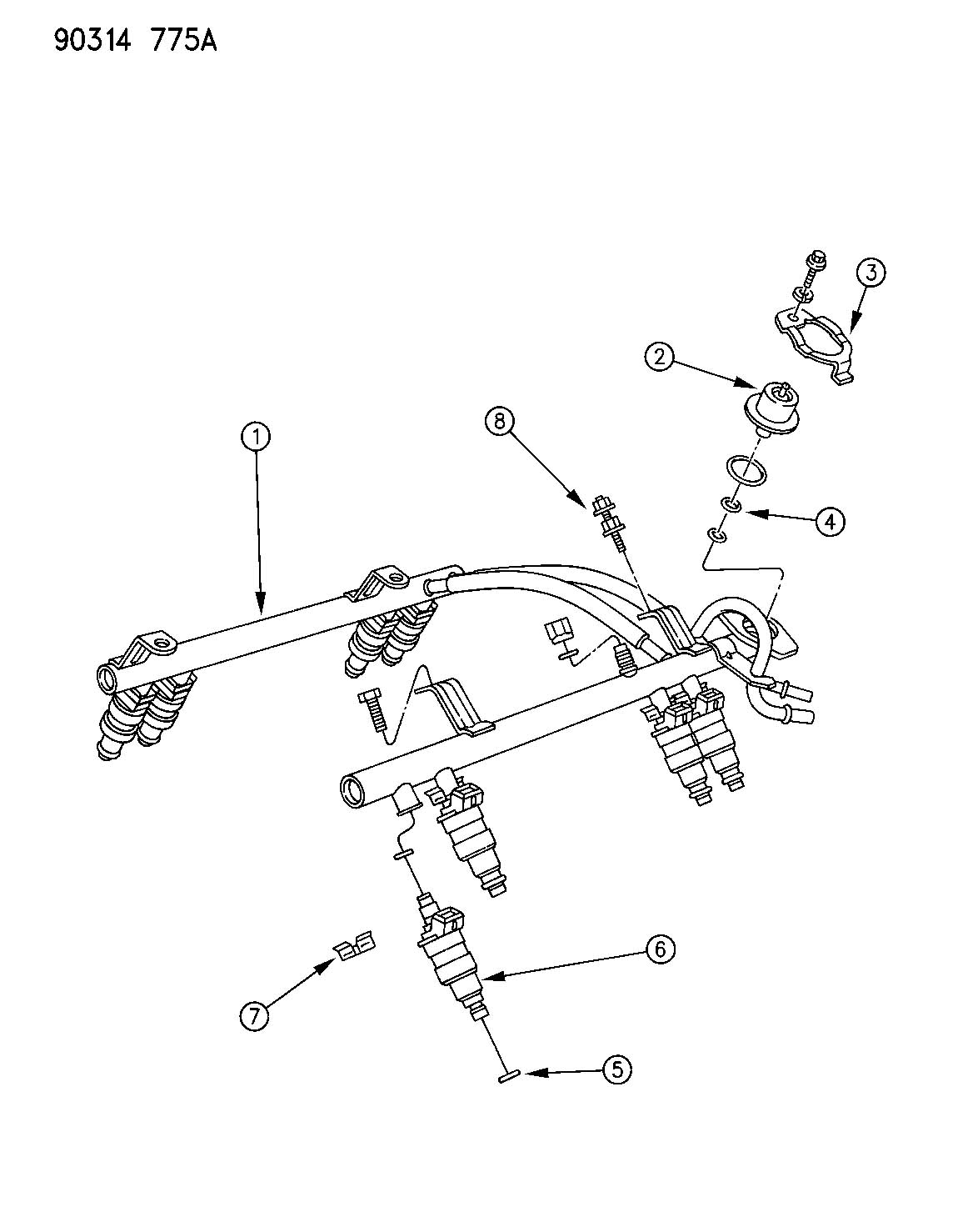 1993 Dodge Dakota FUEL RAIL 3.9L AND 5.2L AND 5.9L ENGINE