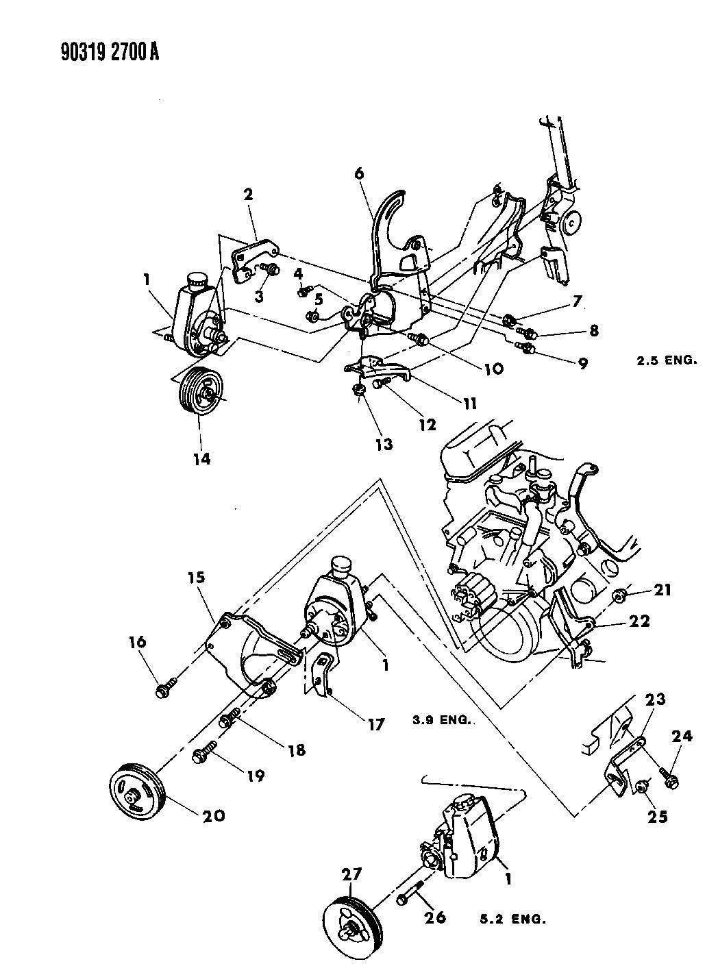 2000 dodge dakota power steering diagram