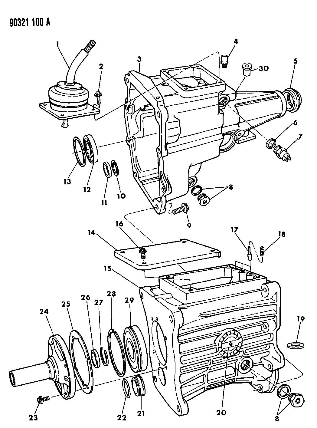 Transmission Case Extension And Misc Parts Overdrive 5
