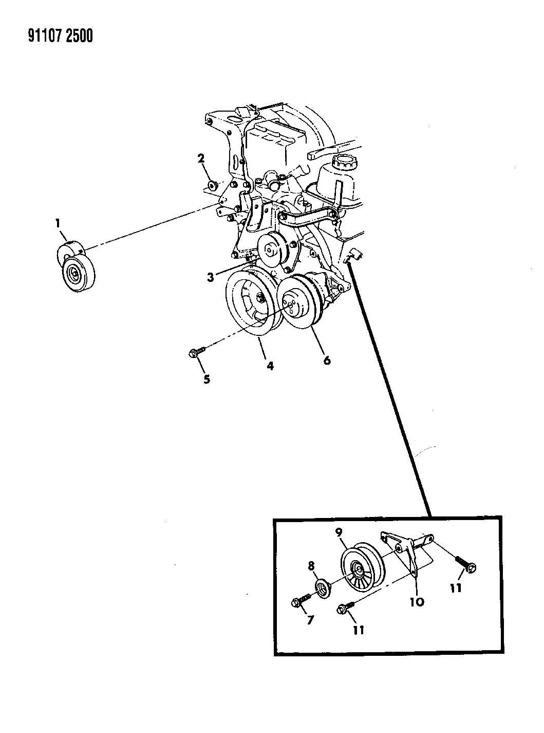 Dodge Grand Caravan Bracket. Idler pulley. W/o air cond