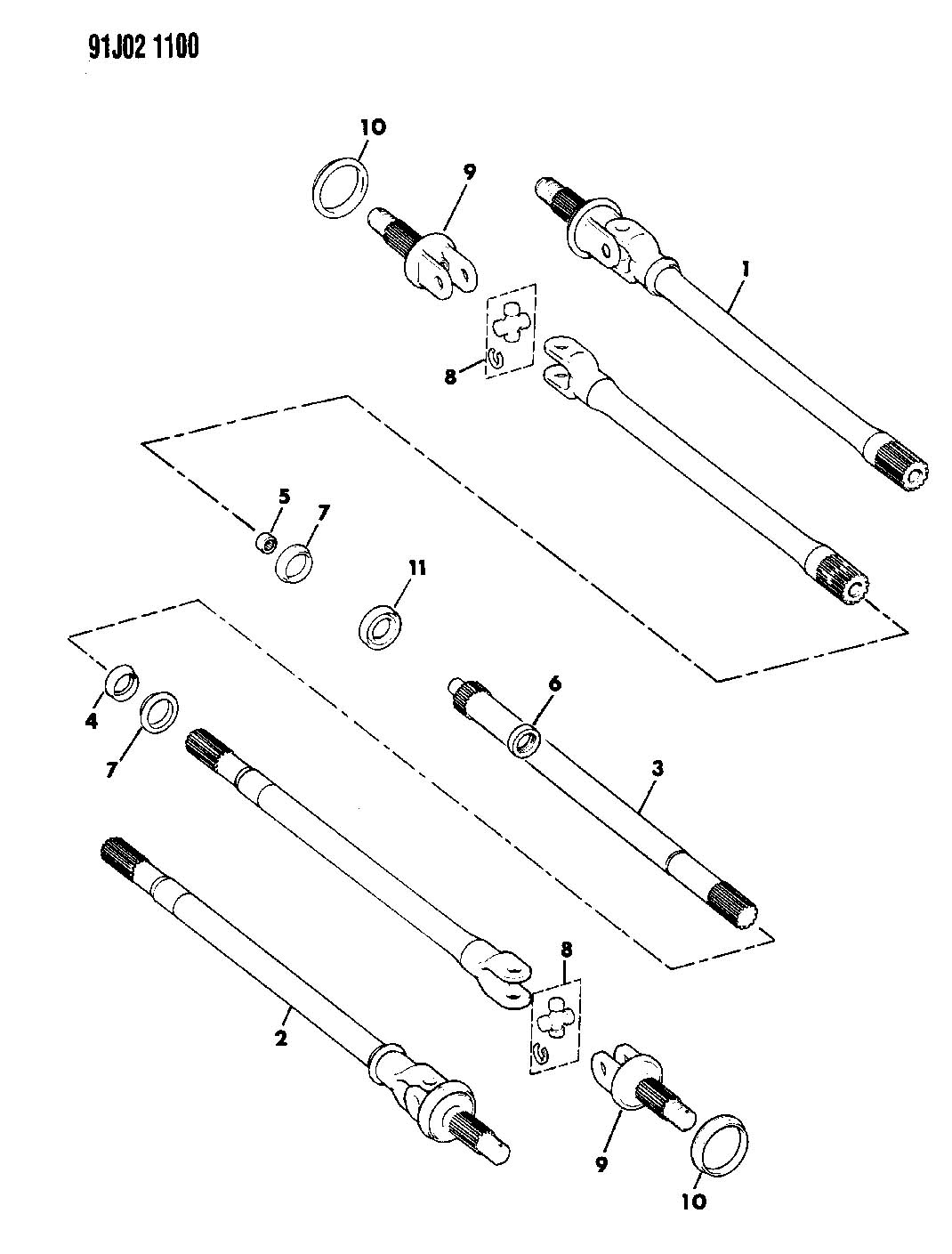 1993 Jeep Wrangler SHAFTS, FRONT AXLE W/DISCONNECT