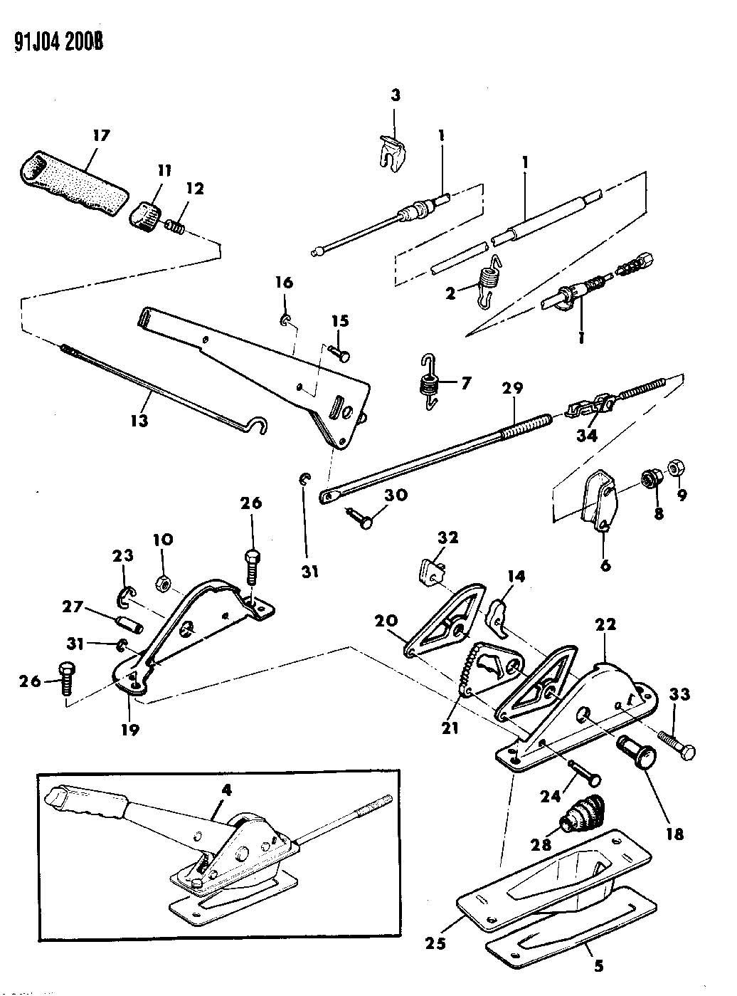 Dodge Dakota Equalizer. Parking brake cable. Equalizer