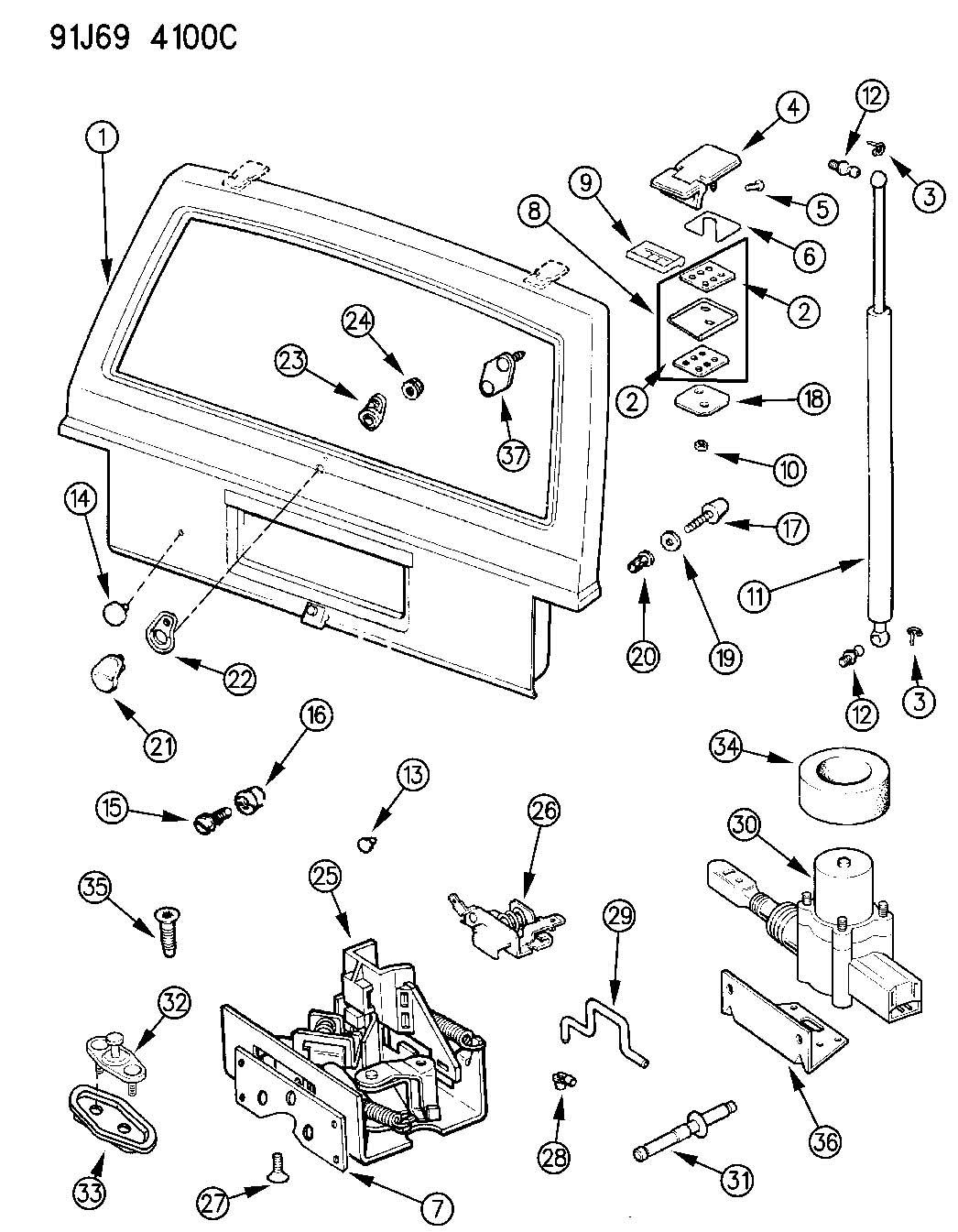 Service manual [1992 Eagle Premier Lift Gate Latch