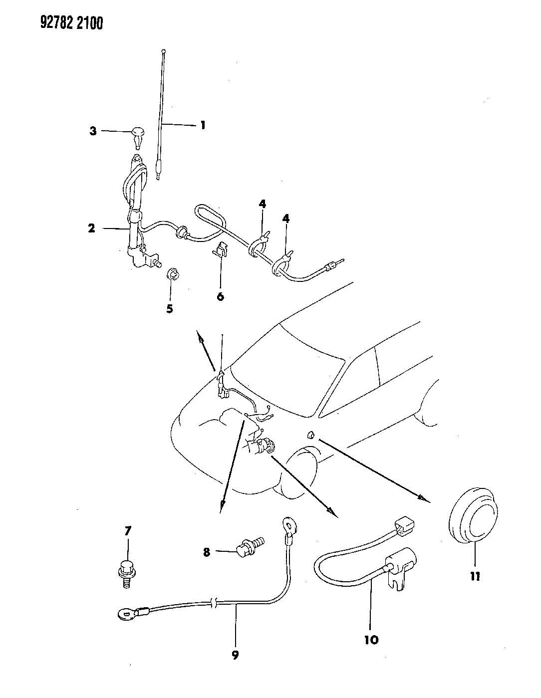 1999 Chrysler Sebring Clip. Antenna. (5.4). Insulators