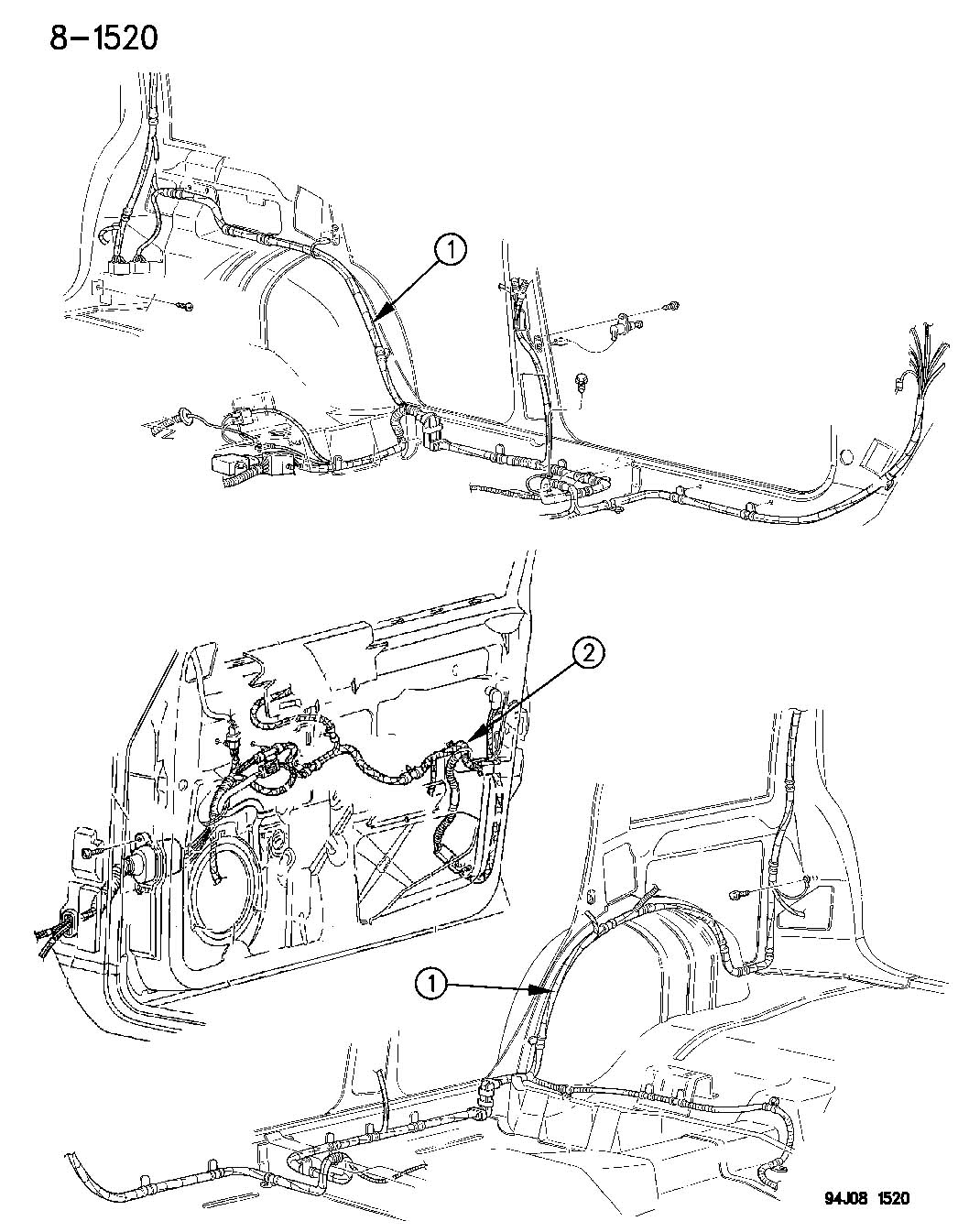 1994 Jeep Wiring. Overhead console. Full, type ii. Trim