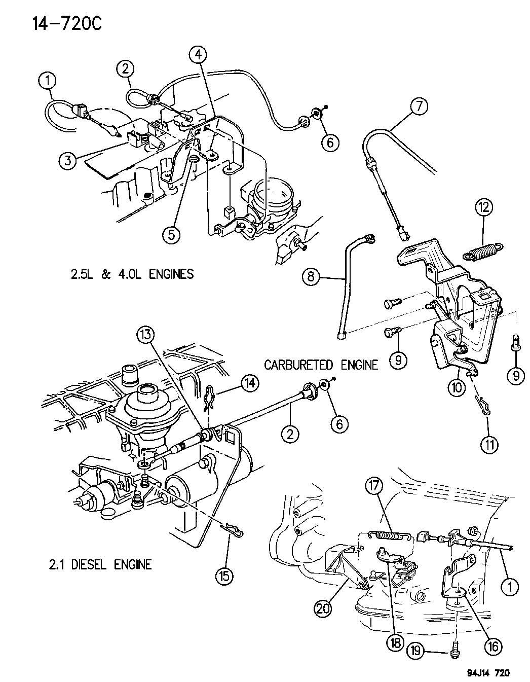 Dodge Dakota Guide Accelerator Cable Comes
