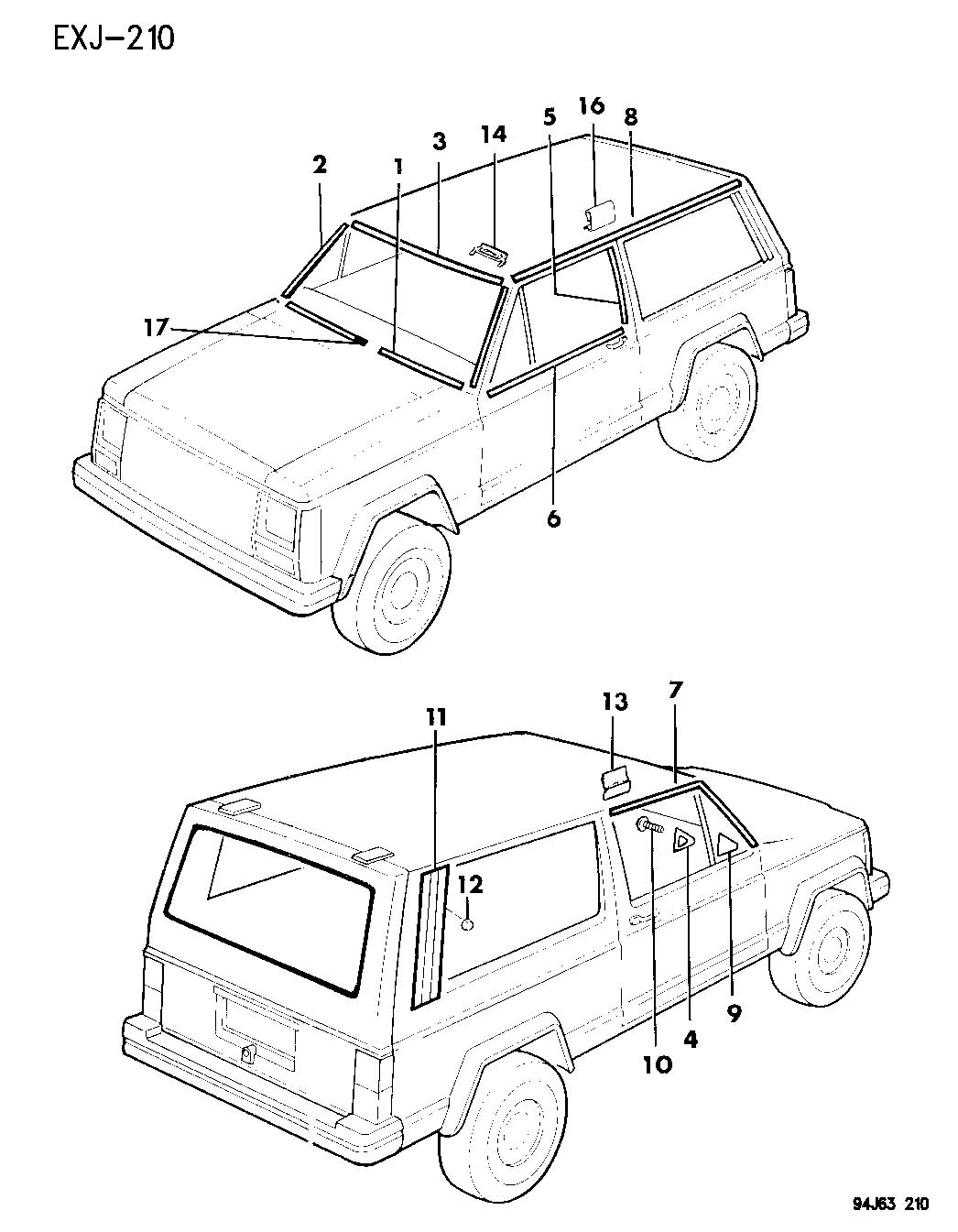 1996 jeep cherokee parts manual