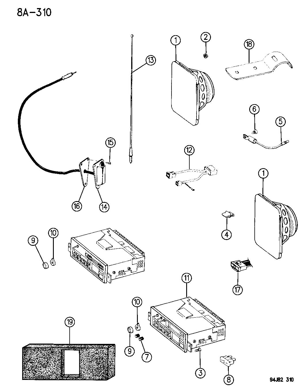98 jeep wrangler speaker wiring diagram rotronics dual battery system radio antenna and speakers yj
