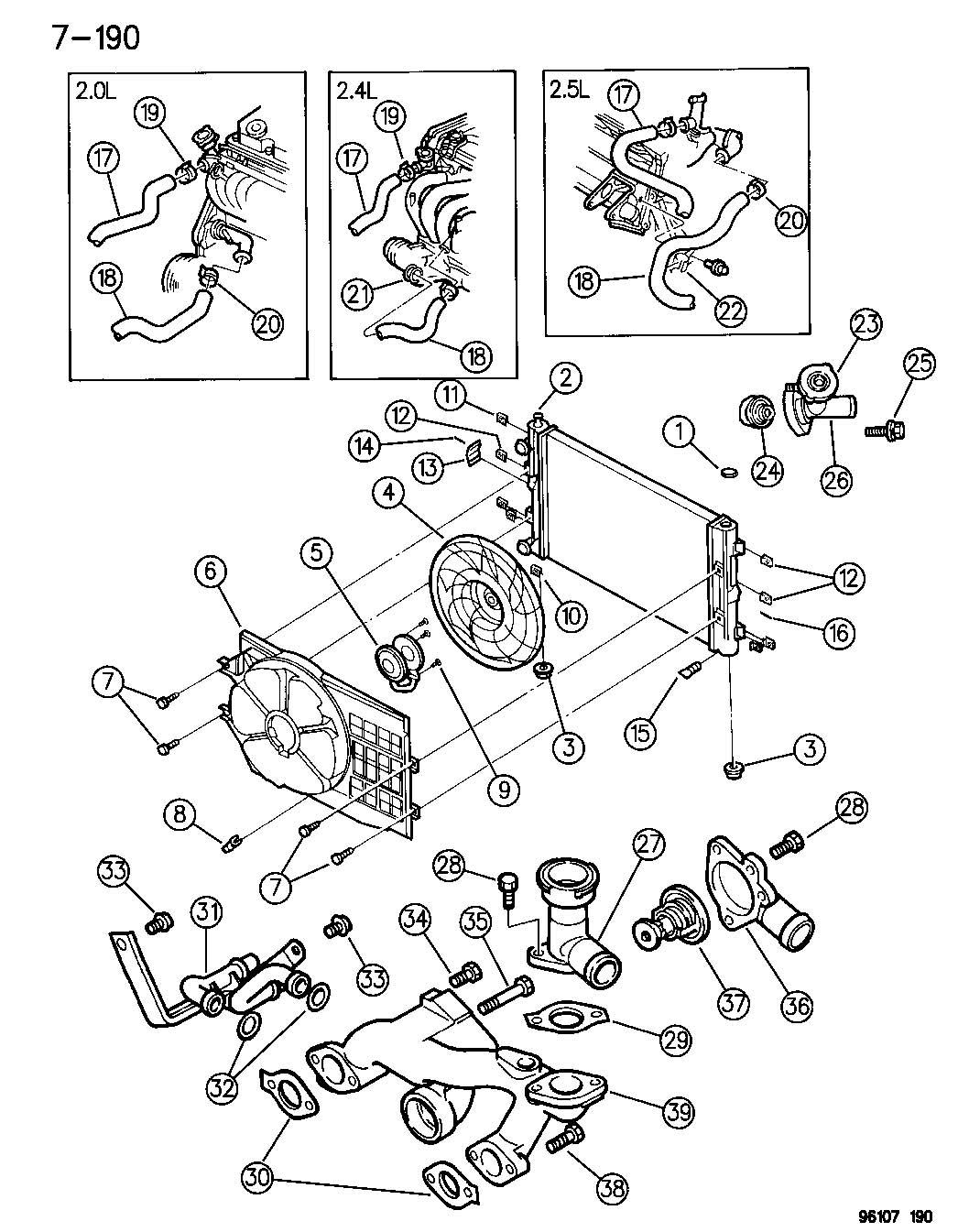 Dodge Stratus Radiator. Engine cooling. Module 4596636aa