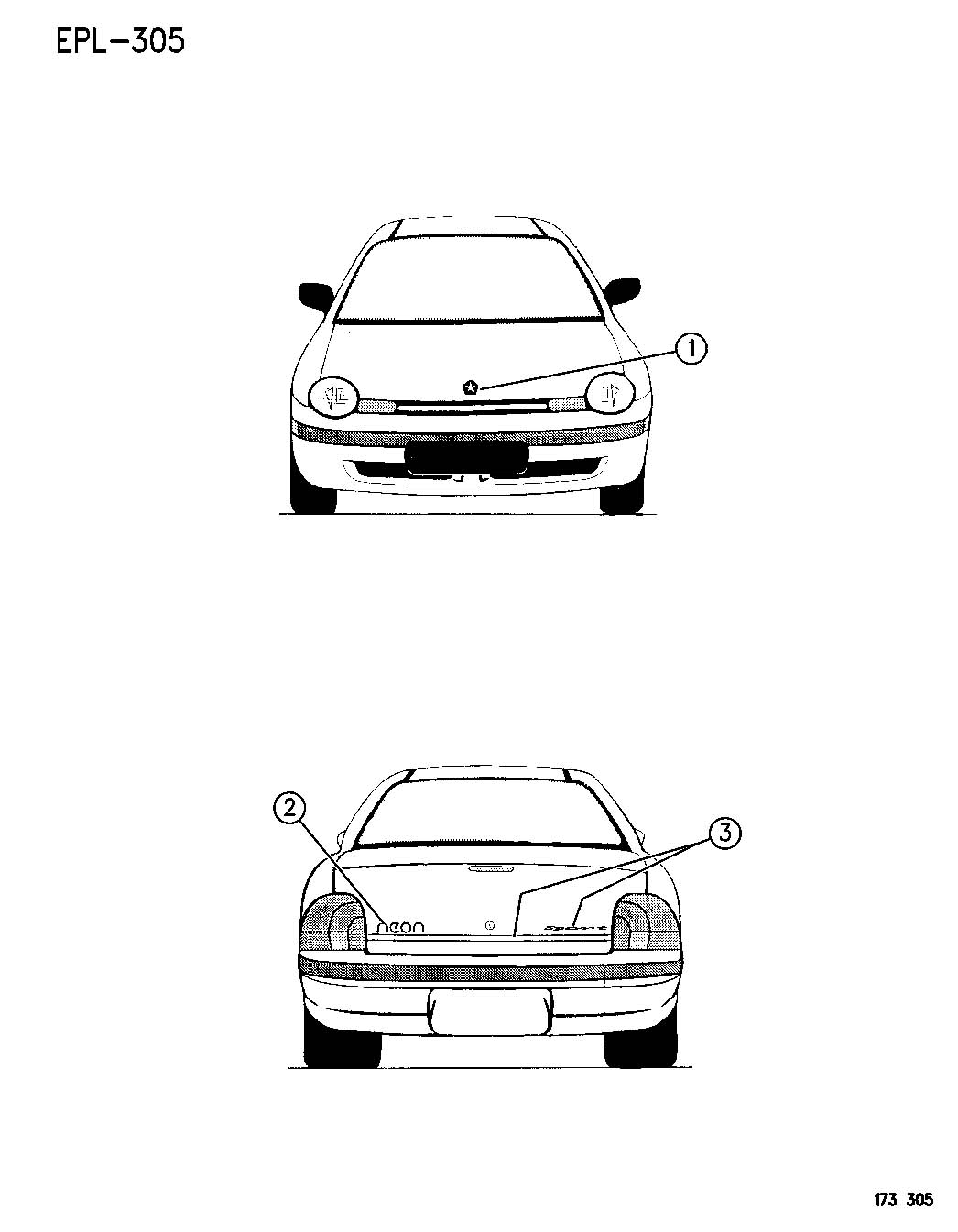 1996 Dodge Neon Decal. expresso. [t: brilliant white