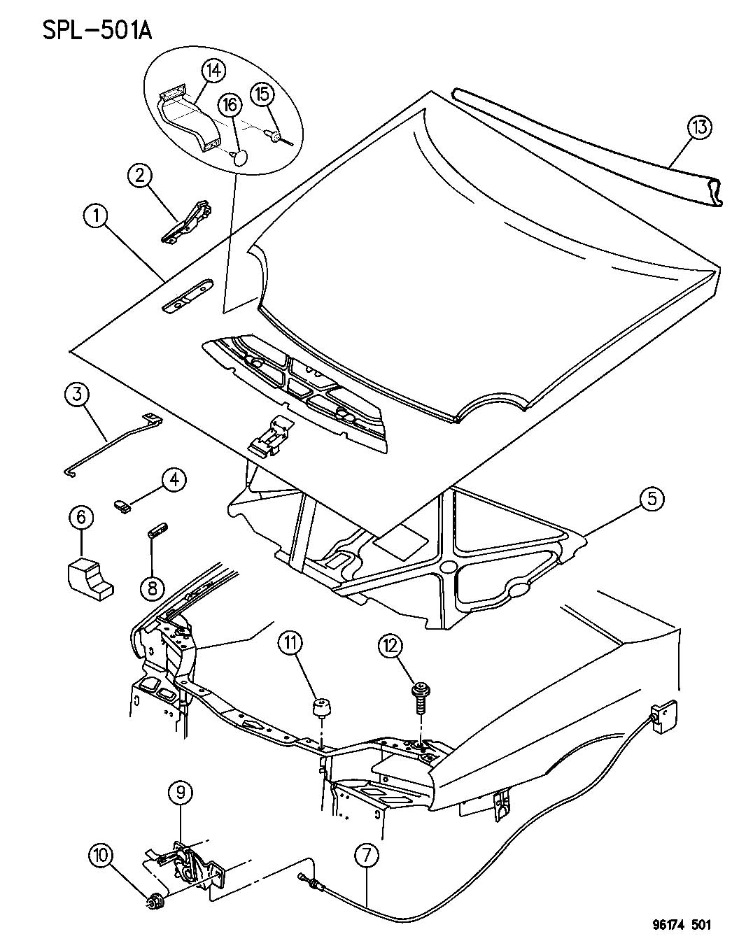 Jeep Wrangler Clip. Prop rod. Plastic. Displayheadlamp