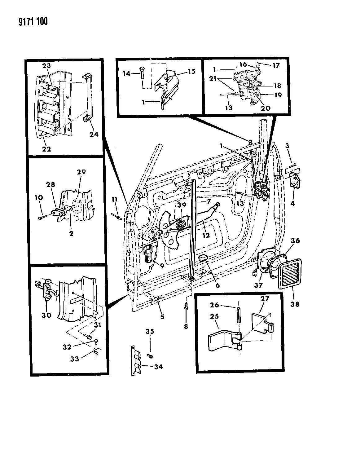 Se Door Front Shell Regulator Controls And Locks L Body