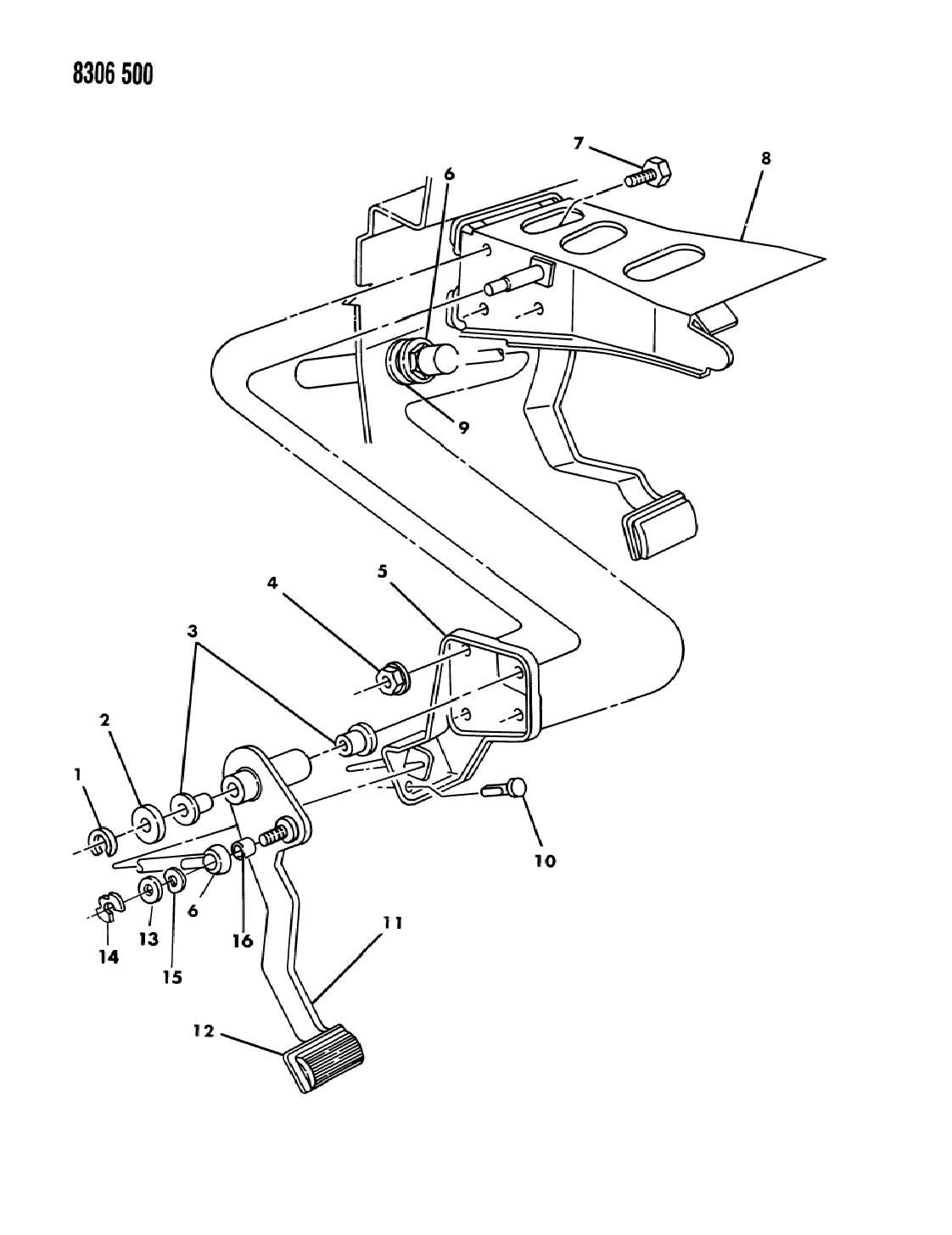 Dodge Dakota Pedal assembly, clutch, pedal, clutch 1990-91
