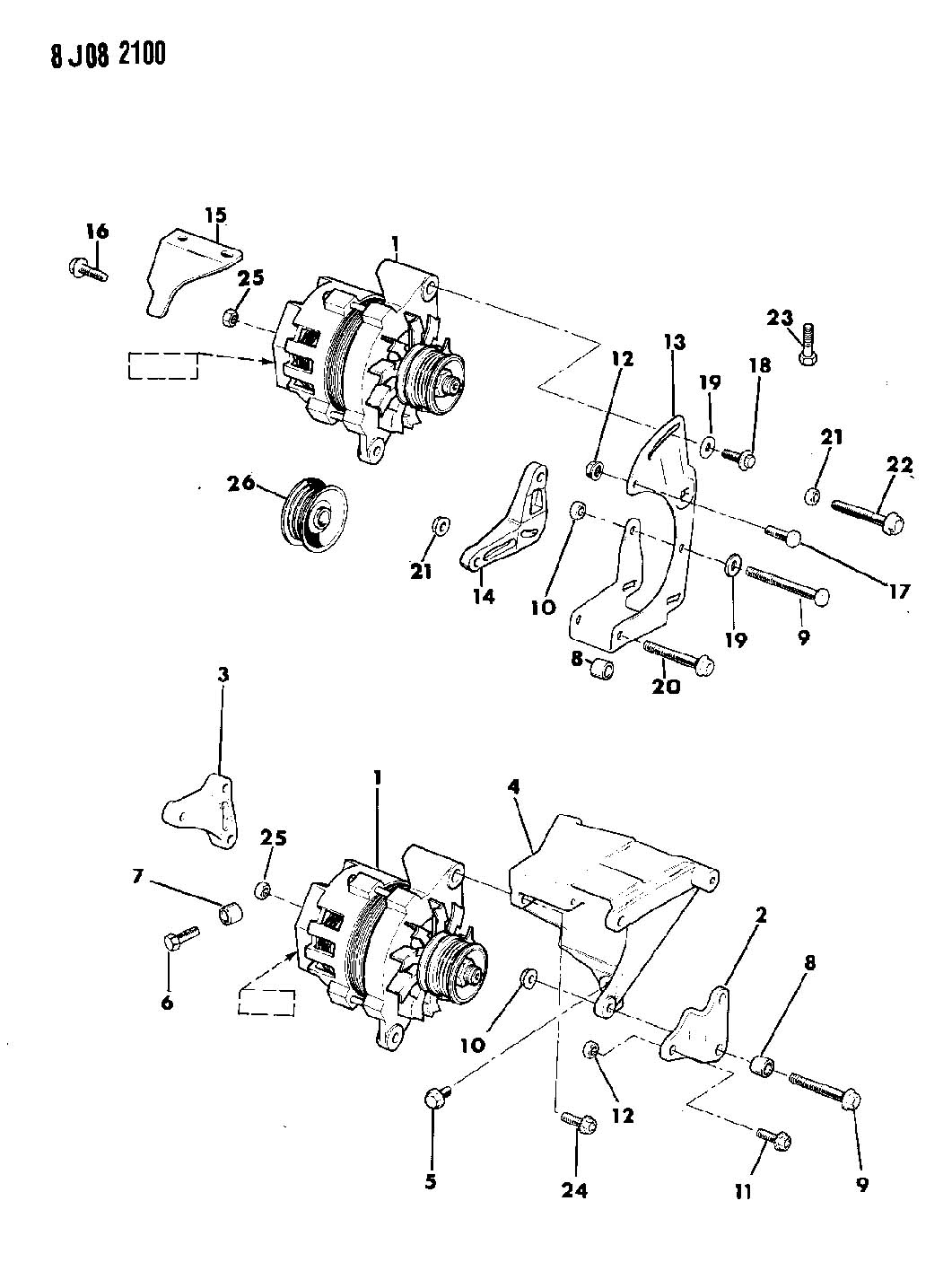 1990 Jeep Cherokee ALTERNATOR AND MOUNTING 2.5L ENGINE