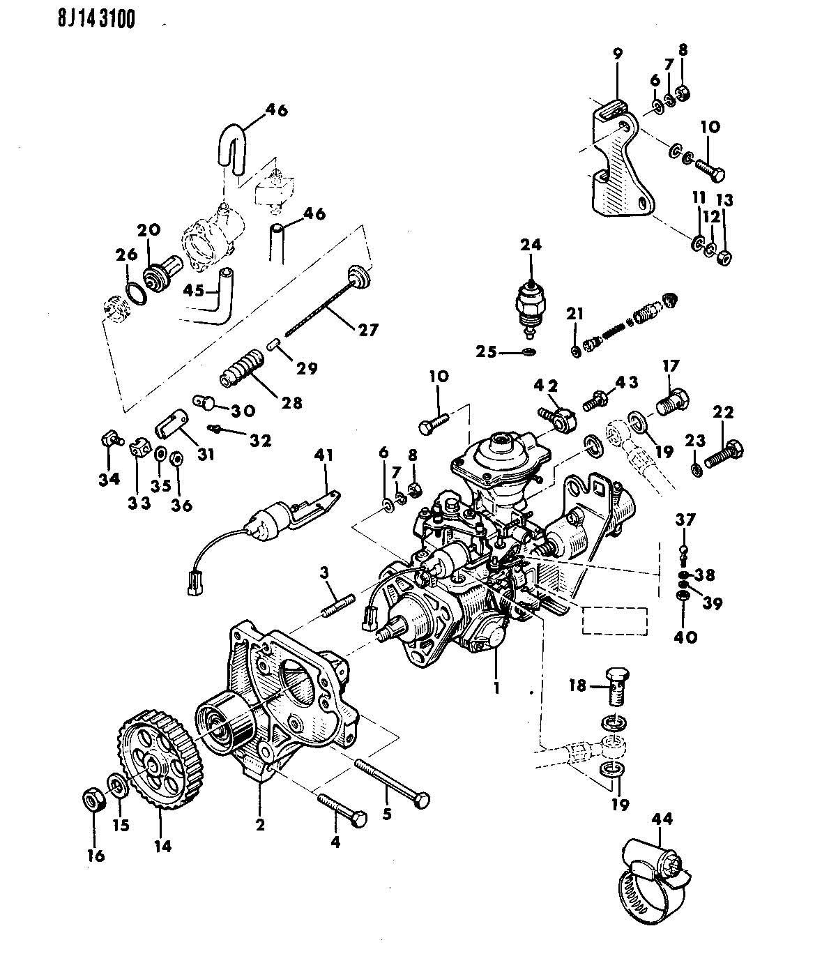 1990 Jeep Cherokee FUEL INJECTION PUMP DIESEL ENGINE